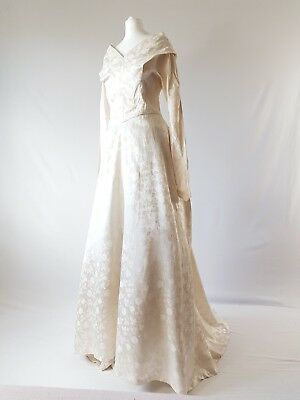 Vintage Wedding Dress True 1950s Ivory Off Shoulder Couture Designer 50s Uk 8-10
