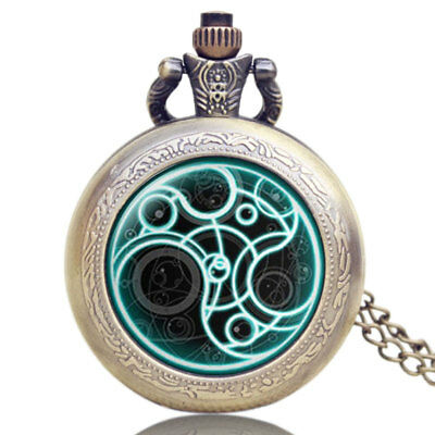 Vintage Doctor Who Time Lord Seal Quartz Pocket Watch Necklace Retro Mens Gift