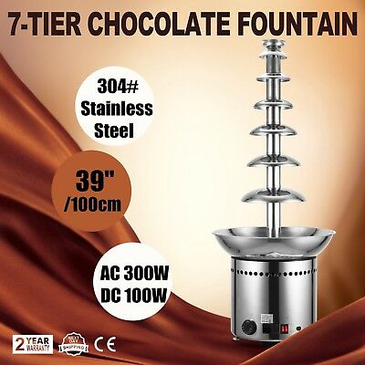 7 Tiers Chocolate Fountain Foundue Machine Dipping Wedding Restaurants 100cm