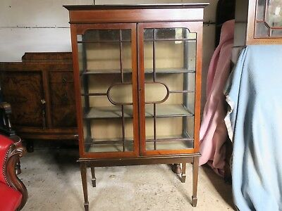 Antique Victorian Display Cabinet, 2 Doors, 18 Panes Each Side