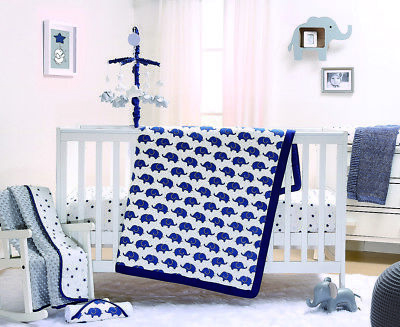Peanut Shell Navy Elephant 3-Piece Cot Bedding Set - Navy/White