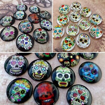 Pack of 10 - Sugar Skull Pattern Muerte Glass Cabochons Mix