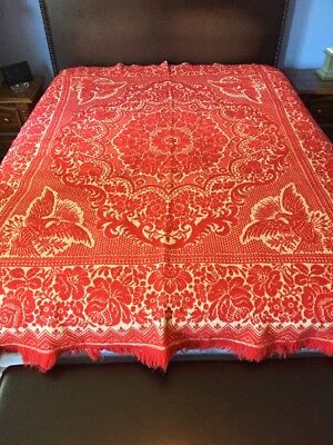Coverlet Eagle Motif Red White Heavy Wool Linen Fringed Weave 72x88