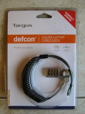 New Targus Defcon Coiled Laptop Cable Combination Lock 5.5 Feet Security Protect