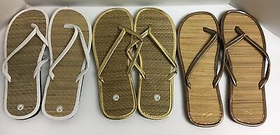 6c4603e14 LOT OF 3 Women s Bamboo White Gold Bronze Flip Flops Sandals Size 10 ...
