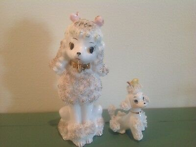 Vintage Mid-Century White Spaghetti Sugar Momma Poodle With Baby