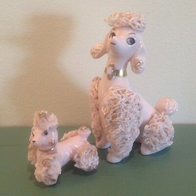 Two Vintage Mid Century Pink Spaghetti Poodles Flower Momma And Baby
