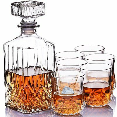 Set of 6X Italian Crystal Whisky Tumblers+Decanter Glass Boxed Men Xmas Gift