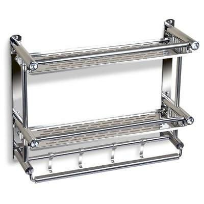 Bathroom Shelf with Towel Bar, No Drilling Stainless Steel  Shelf Holder 2 Tiers