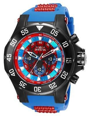 Invicta Men's 'Marvel' Quartz Stainless Steel and Silicone Watch, Color:Blue (Mo