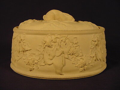 """RARE EARLY 1800s 10 ½"""" RABBIT GAME DISH WEDGWOOD CANE YELLOW WARE CANEWARE"""