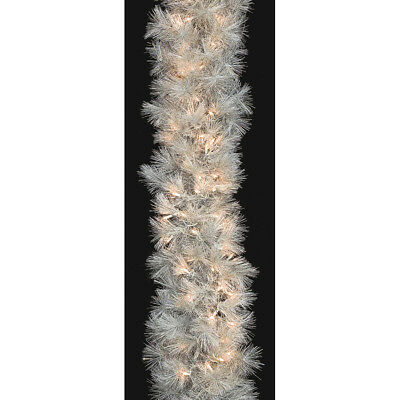 "9'Lx13""W Hudson Pine Lighted Artificial Garland -White/Iridescent (pack of 2)"