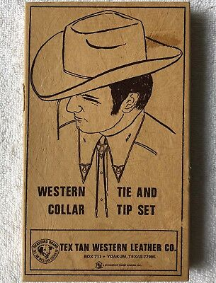 Western Cowboy Leather Bolo Tie & Collar Tips Vintage Tex Tan: Great Costume!