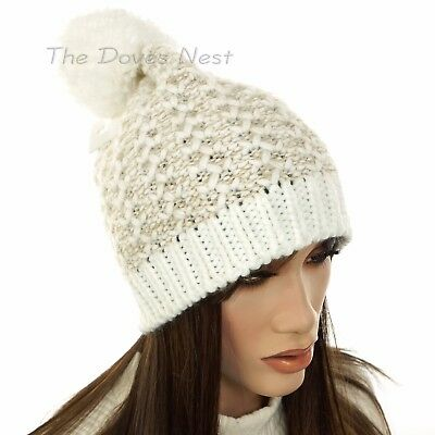 61485383ba2 SONOMA Women s Marled TAUPE   White IVORY BEANIE HAT with POM Winter KNIT  CAP