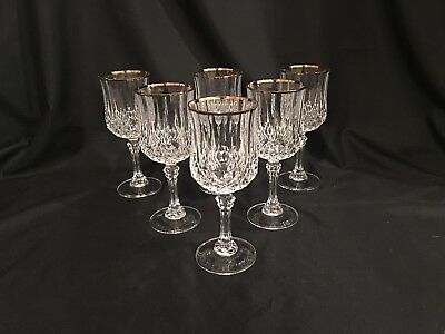 6 Longchamp Gold 8 oz Water / Wine Goblets by Cristal d'Arques - Durand