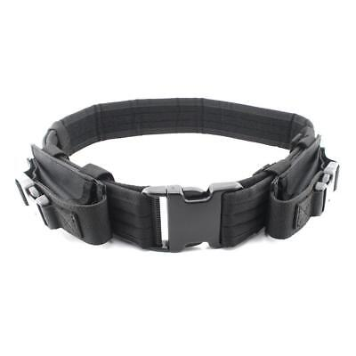 """Black Tactical Belt Heavy Duty Gear Utility Belt with Dual Mag Pouch Fits 44"""""""
