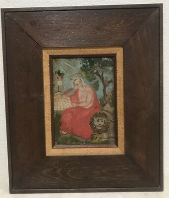 Antique 19th Century Spanish Colonial Painting / Retablo on Tin Saint Jerome