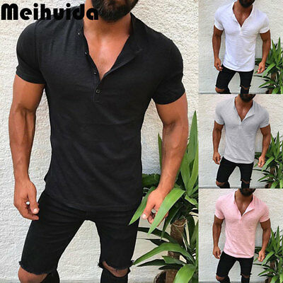 Men's Slim Fit V Neck Short Sleeve Muscle Tee T-shirt Casual Tops Shirts