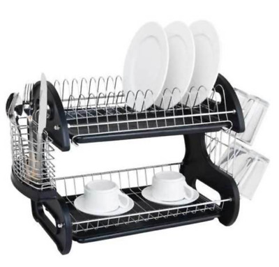 2 Tier Dual Layers Bowls Dishes Chopsticks Spoons Collection Shelf Dish Drainer