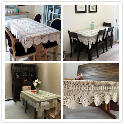 Vintage Rectangle Crochet Lace Tablecloth Dining Table Cloth Cover Wedding Party