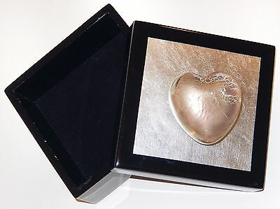 Black Lacquer Wood BOX Glass Heart Paperweight Robert Held Pacific Connections