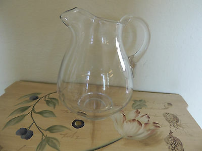 "Antique Clear  Glass Chrystal Heavy  Water Or Juice Jug. 6 1/2 "" 1930-Is"