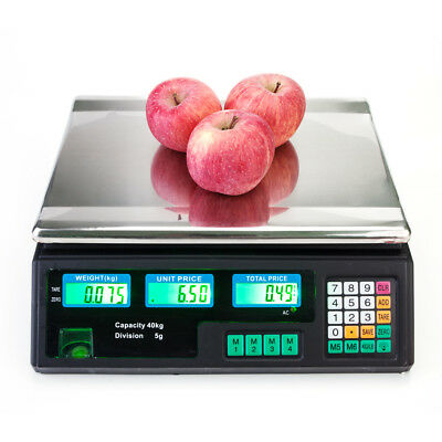 40kg/5g Electronic Digital Price Computing Scale for Vegetable Food Meat US Plug