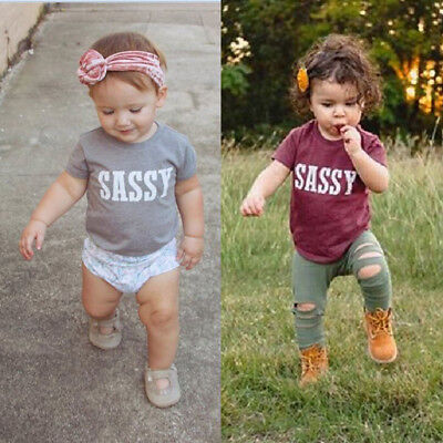 AU Baby Girls Boy Kids Toddler Sassy Short Sleeve Cotton T-shirt Tops Clothes