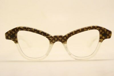 Small Unused Brown Clear Cat Eye Glasses New Old Stock