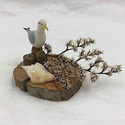 Vintage Handmade Bird Decorative Collectible Figure-Wood Base, Seashell, Gull