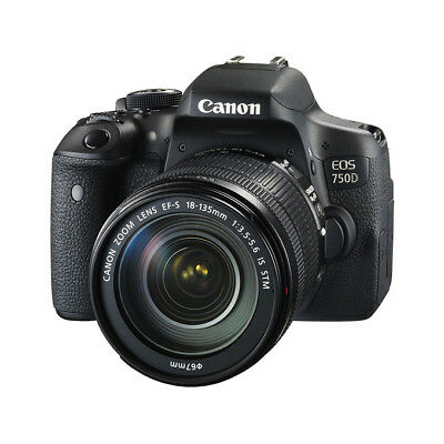 NEW Canon EOS 750D 24.2MP DSLR Camera with EF-S 18-135mm f/3.5-5.6 IS STM Lens