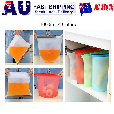8x Reusable Silicone Food Preservation Bag Airtight Seal Food Storage Container