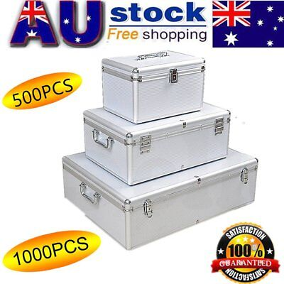 500/ 1000 Discs DVD Holder Aluminium CD Box  Lockable Protective Storage Box
