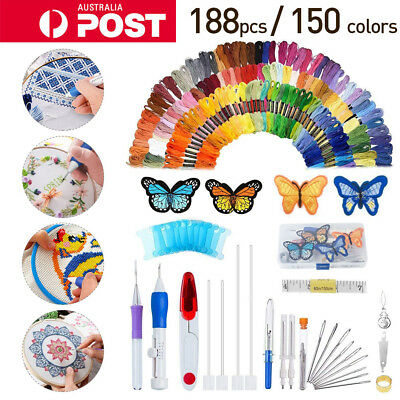 188 in 1 Embroidery Pen Knitting Sewing Set Punch Needle Thread Knitting Tool AU
