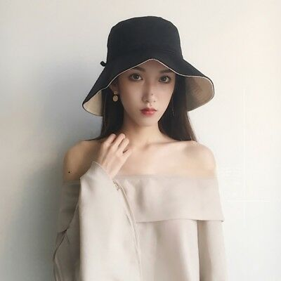 Women Summer Cozy Wide Brim Anti-UV Fisherman Cap Beach Cotton Sun Bucket  Hat 1d0ba1ae2fd4
