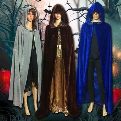 Halloween Party Vampire Witch Wizard Velvet Cape Gothic Hooded Cloak Costume AU