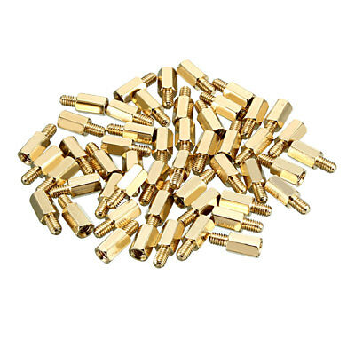 50pcs M4 10+6mm Female Male Thread Brass Hex Standoff Spacer Screws PCB Pillar