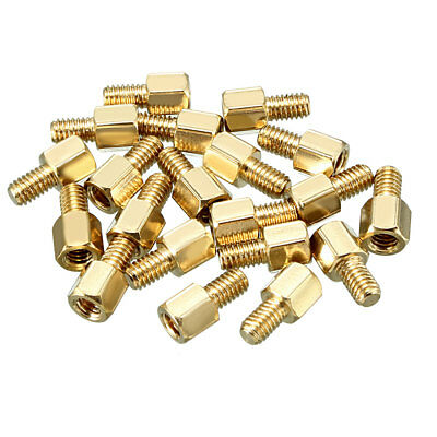 20pcs M4 6+6mm Female Male Thread Brass Hex Standoff Spacer Screws PCB Pillar