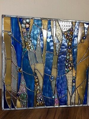 Stained Glass Window  Contemporary Abstract Panel OOAK