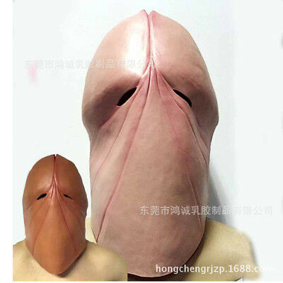 Dick Head Mask Latex Penis Tricky Costume Halloween Prank Party Cosplay Prop Art