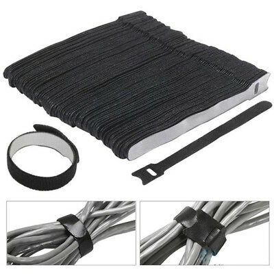 30x Hook and Loop Tape Strap Cable Tie Fastener Self Adhesive Roll Wrap Black