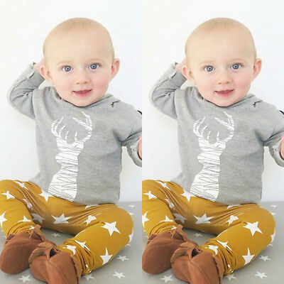 UK Stock Newborn Baby Boy Kids T-shirt Tops+Pants Leggings Outfits 2pcs Clothes