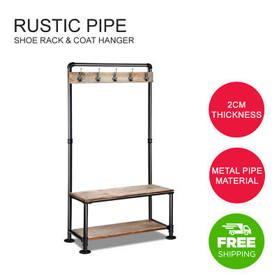 Rustic Hook Coat Shoe Rack Hanger Stand Clothes Vintage Pipe Wooden Pipe Shelf