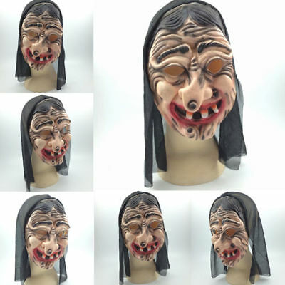 Adult Old Witch Mask Latex Creepy Halloween Fairytale Fancy Dress Accessory