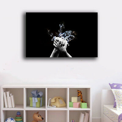 Framed Canvas Prints Stretched Abstract Hand Smoke Wall Art Home Decor Gift