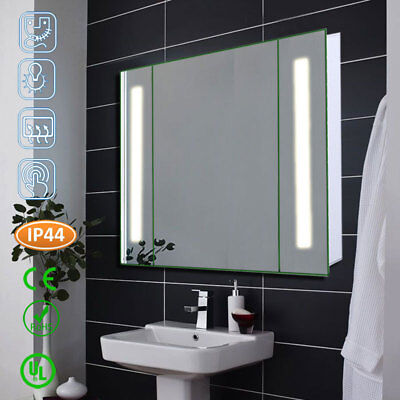 Anti-Fog LED Lighted Cabinet Mirror Shaver Toothbrush Outlet Storage Bathroom