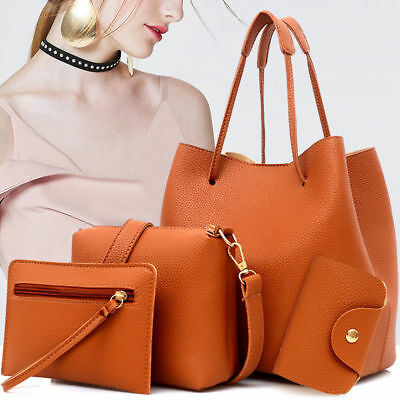 4pcs Women Lady Leather Handbag Shoulder Bags Tote Purse Messenger Satchel Set W