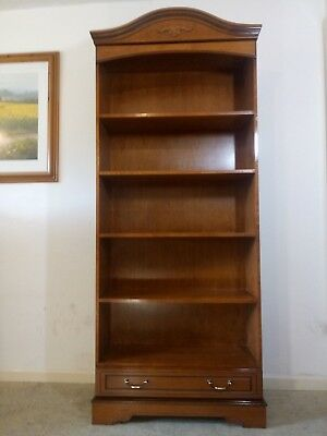 Solid Mahogany Slimline Tall Open Bookcase with  5 Shelves and Bottom Drawer