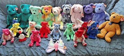 Ty Beanie Babies Lot of 22 Bears Penguin Butterfly Large and small  Names below