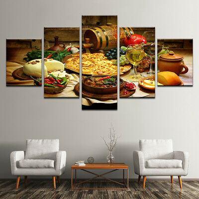 Restaurant Kitchen Food Wine Canvas Cover Wall Art Picture - Printed Home Decor